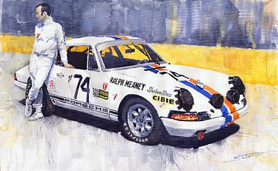 Watercolour Wall Art - Painting - Porsche 911 Sebring 1970 Ralf Meaney by Yuriy Shevchuk