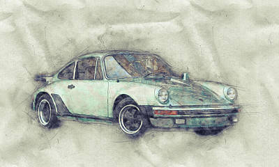 Mixed Media - Porsche 911 - Sports Car 1 - Roadster - Automotive Art - Car Posters by Studio Grafiikka
