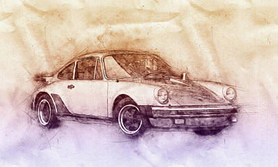 Mixed Media - Porsche 911 - Sports Car 2 - Roadster - Automotive Art - Car Posters by Studio Grafiikka