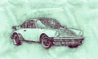 Mixed Media - Porsche 911 - Sports Car 3 - Roadster - Automotive Art - Car Posters by Studio Grafiikka