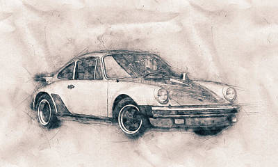 Mixed Media - Porsche 911 - Sports Car - Roadster - Automotive Art - Car Posters by Studio Grafiikka