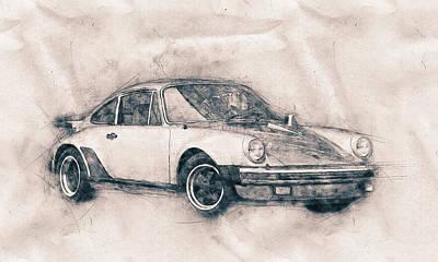 Sports Mixed Media - Porsche 911 - Sports Car - Roadster - Automotive Art - Car Posters by Studio Grafiikka
