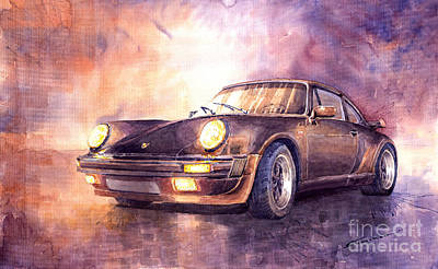 Watercolour Painting - Porsche 911 Turbo 1979 by Yuriy Shevchuk