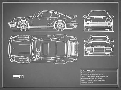 Porsche 911 Turbo Photograph - Porsche 911 Turbo Blueprint - Gray by Mark Rogan