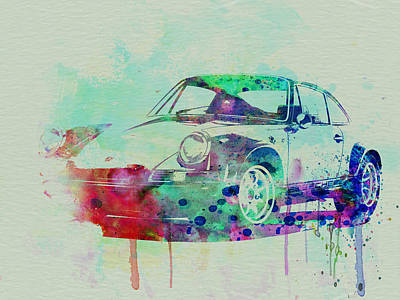 American Cars Drawing - Porsche 911 Watercolor 2 by Naxart Studio