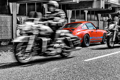 912 Photograph - Porsche 911 With Harleys Passing By by 2bhappy4ever