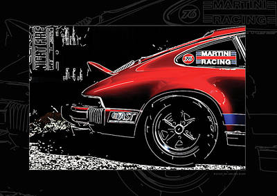 912 Digital Art - Porsche 911 With White Lines Framed by 2bhappy4ever