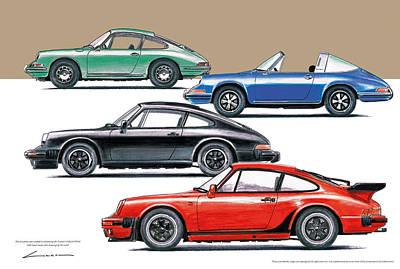 Porsche 911's And 912 1965/88 Art Print by Luc Cannoot