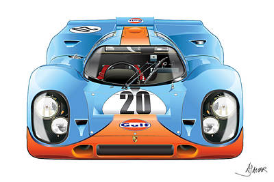 Germany Drawing - Porsche 917 Gulf On White by Alain Jamar
