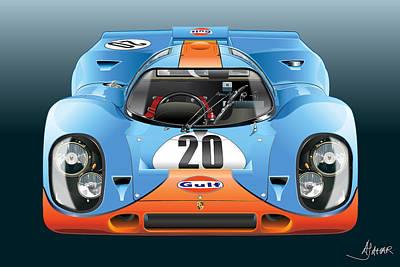Digital Fine Art Digital Art - Porsche 917k Kurzneck by Alain Jamar