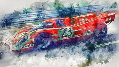 Painting - Porsche 917k - Lemans Watercolor 01 by Andrea Mazzocchetti