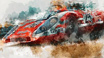 Painting - Porsche 917k - Lemans Watercolor 02 by Andrea Mazzocchetti