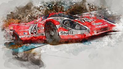 Painting - Porsche 917k - Lemans Watercolor 04 by Andrea Mazzocchetti