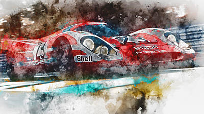 Painting - Porsche 917k - Lemans Watercolor 05 by Andrea Mazzocchetti