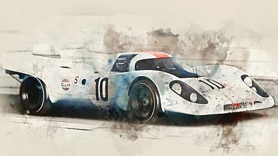 Painting - Porsche 917k - Watercolor 05 by Andrea Mazzocchetti