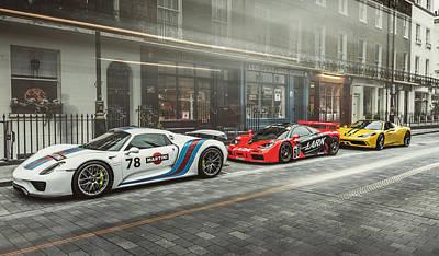 Porsche 918 Mclaren F1 Gtr And Ferrari 458 Specialea Art Print