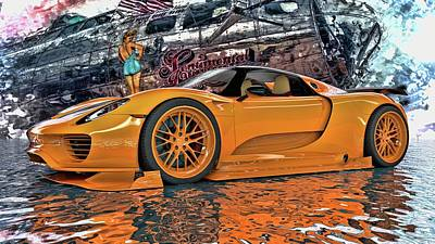 Digital Art - Porsche 918 Spyder  by Louis Ferreira