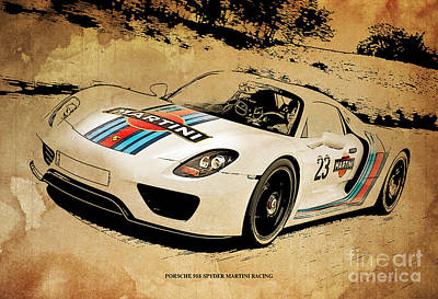 Martini Drawing - Porsche 918 Spyder Martini Racing by Pablo Franchi
