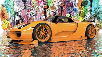 Digital Art - Porsche 918 Supercar by Louis Ferreira