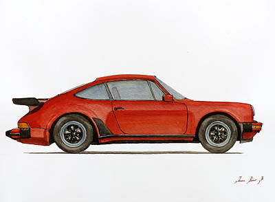Decals Painting - Porsche 930 Turbo 911 by Juan  Bosco