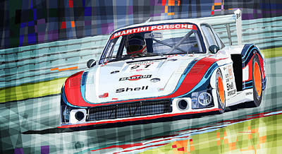 Porsche Drawing - Porsche 935 Coupe Moby Dick Martini Racing Team by Yuriy  Shevchuk