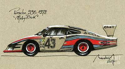 919 Painting - Porsche 935 Moby Dick by Alain Baudouin