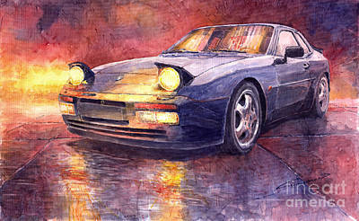 Watercolour Painting - Porsche 944 Turbo by Yuriy  Shevchuk