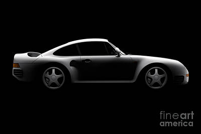 Digital Art - Porsche 959 - Side View by David Marchal