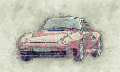 Royalty-Free and Rights-Managed Images - Porsche 959 - Sports Car 1 - Roadster - 1986 - Automotive Art - Car Posters by Studio Grafiikka