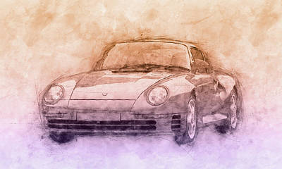 Mixed Media - Porsche 959 - Sports Car 2 - Roadster - 1986 - Automotive Art - Car Posters by Studio Grafiikka