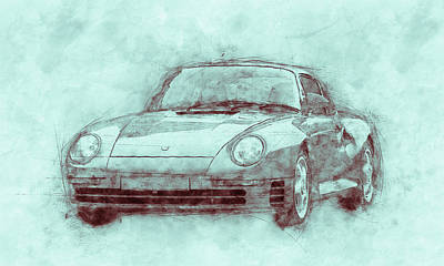 Royalty-Free and Rights-Managed Images - Porsche 959 - Sports Car 3 - Roadster - 1986 - Automotive Art - Car Posters by Studio Grafiikka