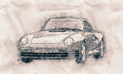 Mixed Media - Porsche 959 - Sports Car - Roadster - 1986 - Automotive Art - Car Posters by Studio Grafiikka