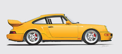 Usa Drawing - Porsche 964 Carrera Rs Illustration In Yellow. by Alain Jamar