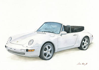Painting - Porsche 993 Cabrio by Juan Bosco