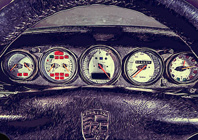 Handwriting Digital Art - Porsche 993 Turbo Dashboard by Yurdaer Bes