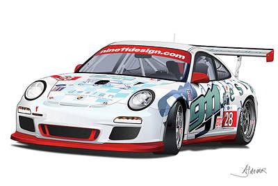 Car Digital Art - porsche 997 GT3 CUP by Alain Jamar