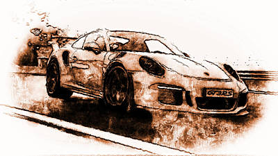 Painting - Porsche 997 Gt3 Rs - 10 by Andrea Mazzocchetti