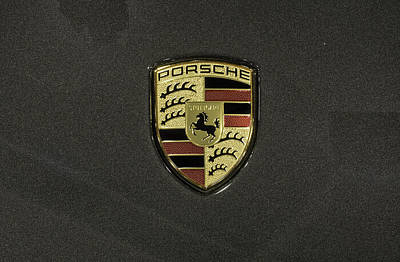 Porche Photograph - Porsche Badge Charcoal Metallic by John Straton