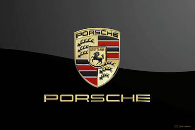 Digital Art - Porsche Badge - Luxury Edition On Black by Serge Averbukh