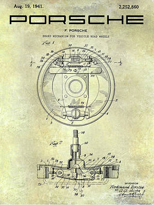 Porsche Brake Mechanism Patent Art Print by Jon Neidert