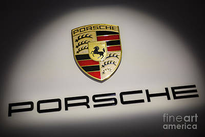 Sports Royalty-Free and Rights-Managed Images - Porsche Car Emblem by Stefano Senise