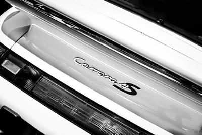 Photograph - Porsche Carrera 4s Taillight Emblem -0205bw by Jill Reger