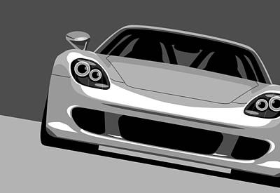 Silver Digital Art - Porsche Carrera Gt by Michael Tompsett