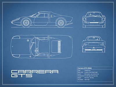 Photograph - Porsche Carrera Gts Blueprint by Mark Rogan