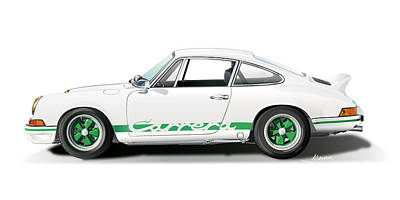 Car Art Drawing - Porsche Carrera Rs Illustration by Alain Jamar