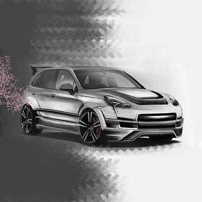 Asphalt Digital Art - Porsche Cayenne Sakura Artrace Body-kit. by Artem Sinitsyn