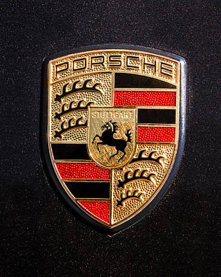 Car Photograph - Porsche Emblem -211c by Jill Reger