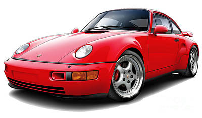Pic Digital Art - Porsche Flachbau Redcar by Maddmax