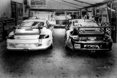 Porsche G T 3 B W _ Mid Ohio Raceway Art Print by Michael Rankin
