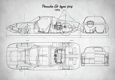Digital Art - Porsche Gt Type 904 by Taylan Apukovska